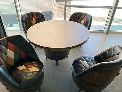 14 Pc Vtg 60-70's Kentucky Brothers Whiskey Barrels Chairs Table Bar