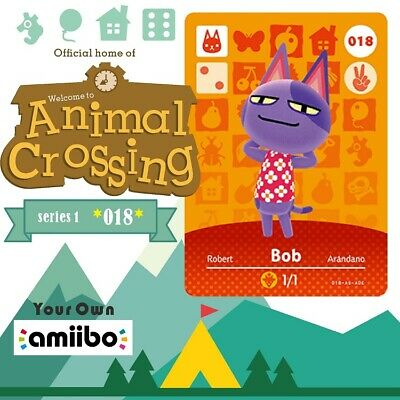 #018 Bob New Animal Crossing Amiibo Villager Game Card New Horizons #Series 1
