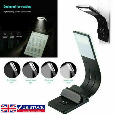 USB Rechargeable LED Book Light Flexible Clip on Book Light Night Reading Lamp
