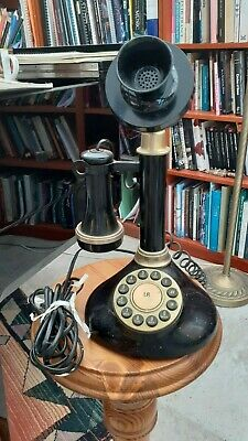 old fashioned retro rotary candlestick phone black