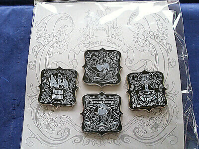Disney Parks * CHALKBOARD SKETCH ATTRACTIONS * New in Pack 4 pin BOOSTER Set