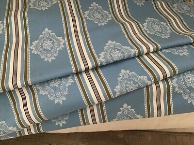 Antique /vintage French Persian Blue Damask Stripe Cotton Ticking Fabric