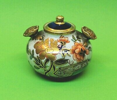 🌟 Bayeux France 1890's Small Antique Jar Porcelain Ceramic Enamel Gold Paint