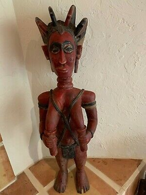 """Antique African art hand carved wood nude woman standing 36"""" Museum Quality"""