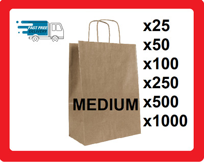 Medium Brown Kraft Paper Bags With Twisted Handles Party Shopper SOS Carrier Bag