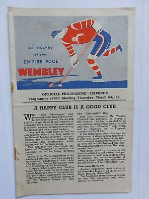 Wembley Lions v The Rest Ice Hockey Programme 1st March 1951