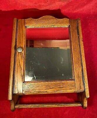 Beautiful Ca 1880 Wood Medicine Cabinet With Hand Carved Bottom Towel Bar - Exc