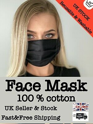 Face Mask 100 % Cotton Washable and Reusable Mouth Protection Breathable UKStock