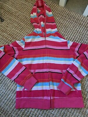 Juicy Couture Striped Velour Type Zip Up Hoodie Girls XL American Sizing