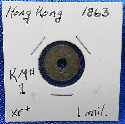 1863 Hong Kong 1 Mil Bronze Coin, Queen Victoria, First Year Issued, Superb Coin