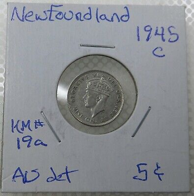 """1945 C Newfoundland Five Cents Silver Coin, King George VI, """"Bertie"""""""