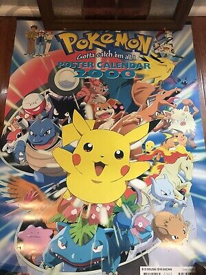 vintage pokemon 2000 calendar/posters official nintendo product