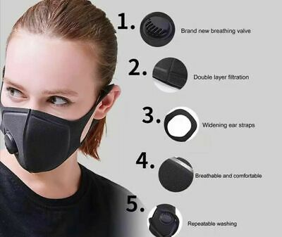 2X Black Sponge Face Cover Protection With Filter Valve Washable And Reusable Uk
