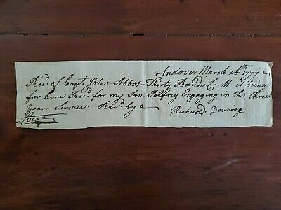 1777 Revolutionary War Pay 1/2 Hire For A Man Sent Into The Three Years Service