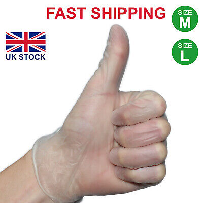 100 Powdered Disposable Vinyl Gloves Blue Size Medium Large