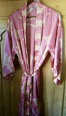 100% Silk Bathrobe, women's M/L Eloise for Anthropologie  3/4 Sleeve, pockets