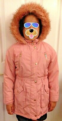 Girls age 9-10 TU warm pink parka coat with faux fur round hood and warm lining