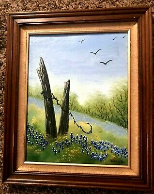 Vintage Oil Painting- Bluebonnets Landscape- Broken Fence Among the Trees