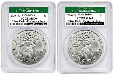 2020 (P) $1 American Silver Eagle PCGS MS70 & MS69 Emergency Production FS PA