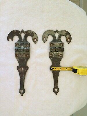 Antique Brass Hinges Pair Large Antique Early 1900's Hinges Antique Ram's Head