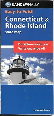 Connecticut & Rhode Island, Easy-to-Fold, Laminated State Map, by Rand McNally