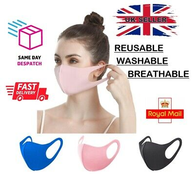 Adult Face Mask Breathable Reusable Washable Anti Pollution Dust PINK BLUE BLACK