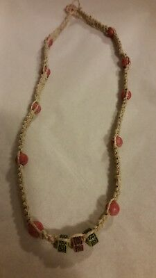 "~ Hemp Necklace with Pink/Green beads ~ 20"" Brand New ~ Made in USA ~"