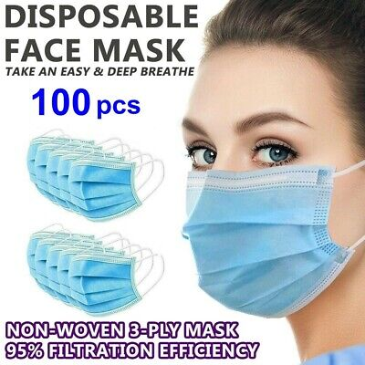 100 PCS Face Mask Medical Surgical Disposable 3-Ply Earloop Mouth Covers