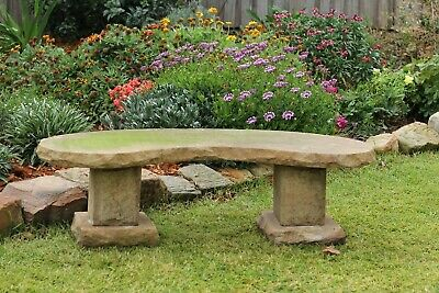 Old solid sandstone garden bench kidney shape seat for two
