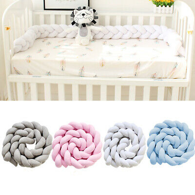 Infant Bed Cot Bumper Nursery  Braid Kids Bedding Pillow Protector Cushion Fence