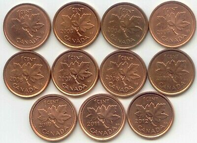 Canada 2002 to 2012 Canadian One Cent Pennies Penny Set 1c