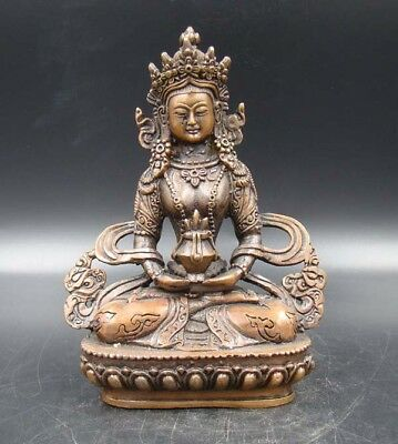 Exquisite Old Handmade Carving Statue Buddha India Copper Brass Bronze YR
