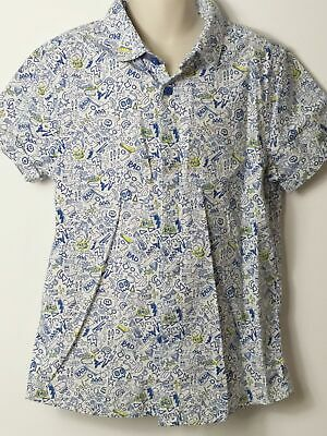 Boys Marks & Spencer Blue White Yellow Short Sleeve Shirt Age 8-9 Years