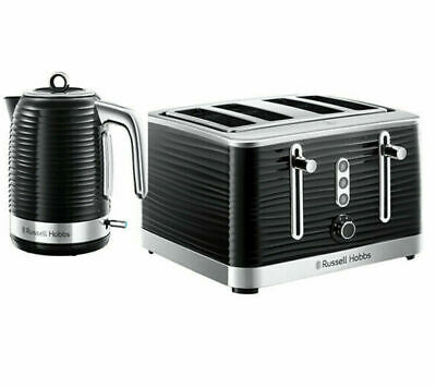 Russell Hobbs Inspire Kettle And Toaster Set Black 1.7 Ltr Jug & 4 Slice Toaster