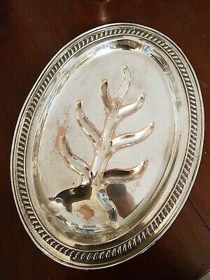 Vintage Silver Plated On Copper Meat Serving Dish