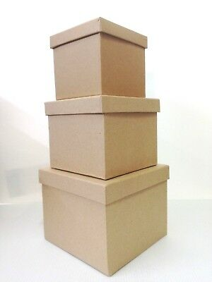 Cardboard Box Square Craft Decorate, Decoupage Various Sizes