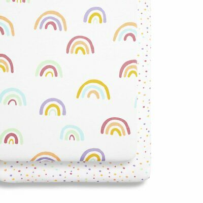 Snuz  Crib 2 Pack Fitted Sheets - Colour Rainbow