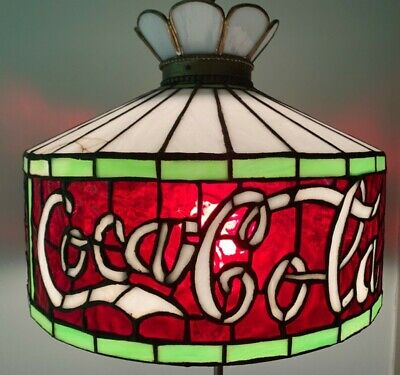 Authentic Coca Cola stained glass hanging light lamp chandelier 75 years old