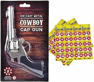 Die Cast 8 Shot Metal Cowboy Toy Cap Gun with Free Caps