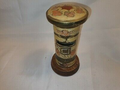 Vintage Indian Painted / Enamelled Brass Postbox Cream Flowers Great Condition
