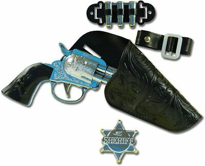 Child's Toy Cowboy Gun Set with Gun, Holster, Sheriff Badge and Bullet Holder