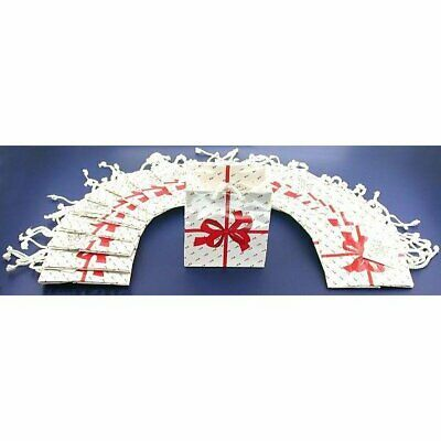 """White Tote Shopping Gift Bags with Red Bow 4"""" x 2.75"""" x 4.5"""" Kit 100 Pcs"""