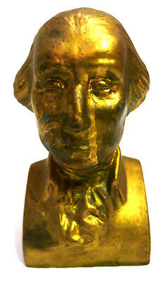Cast Metal Bust of President George Washington or Bookend Gold Color