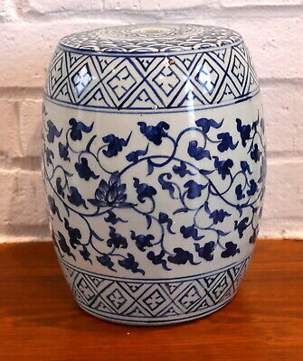Vintage Chinese Porcelain Small Garden Stool Seat Blue White Lotus Flower Ivy