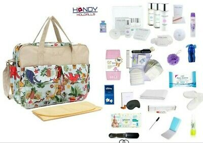 QUALITY Pre-Packed Maternity Hospital Baby Changing Bag & LUXURY Toiletry Kit