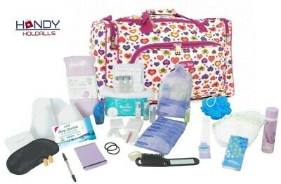 QUALITY Pre-Packed Maternity Hospital Mum Baby Bag & LUXURY Toiletry Kit
