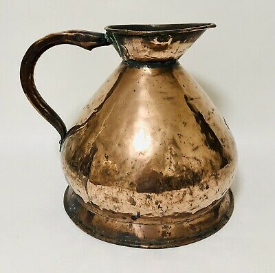 Large Antique Georgian Copper 3 Gallon Harvest Measuring Jug