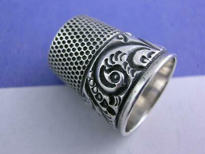 Vintage Sterling Silver SIMONS Thimble w/ chased scroll patterns ~size 9