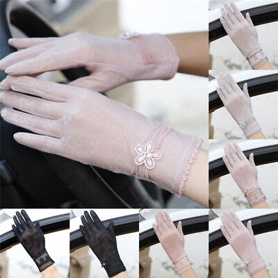 Women Summer Driving Thin Lace Gloves Outdoor Uv Protection One Size New VE-SL