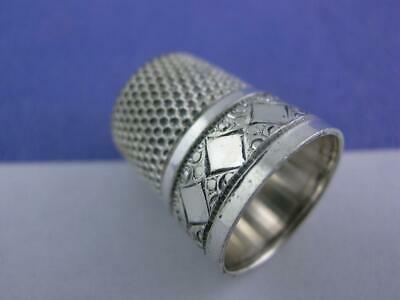 Vintage Sterling Silver SIMONS Thimble DIAMOND & engraved patterns ~size 7